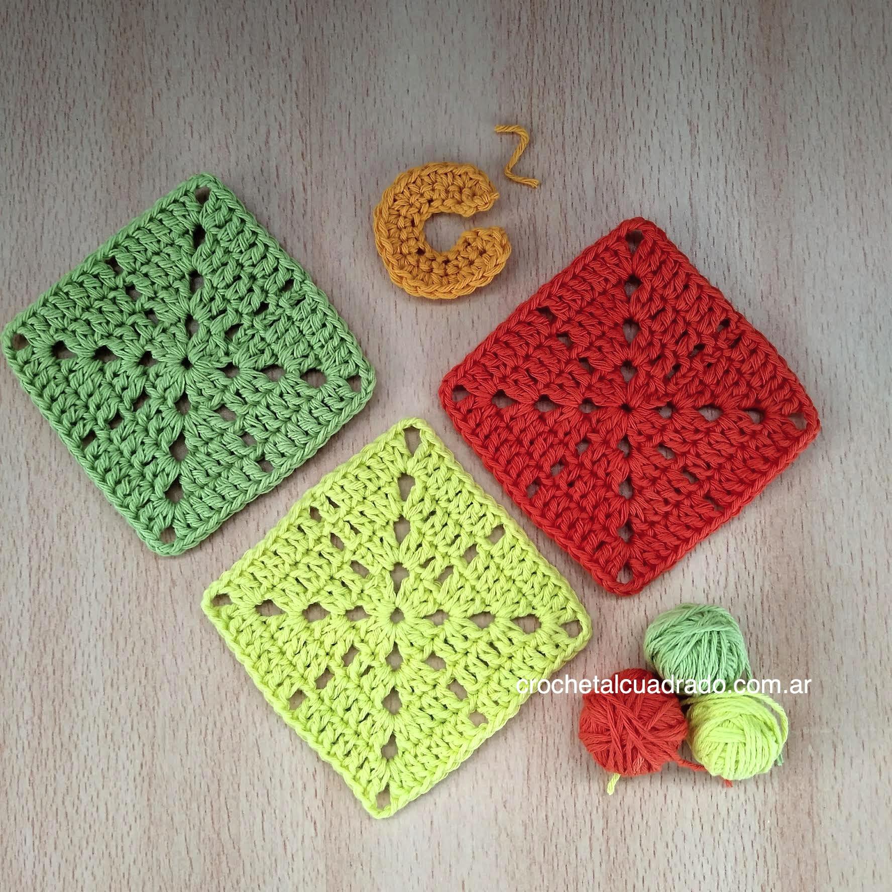 cuadrado al crochet semi compacto