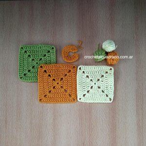 cuadrado al crochet compacto