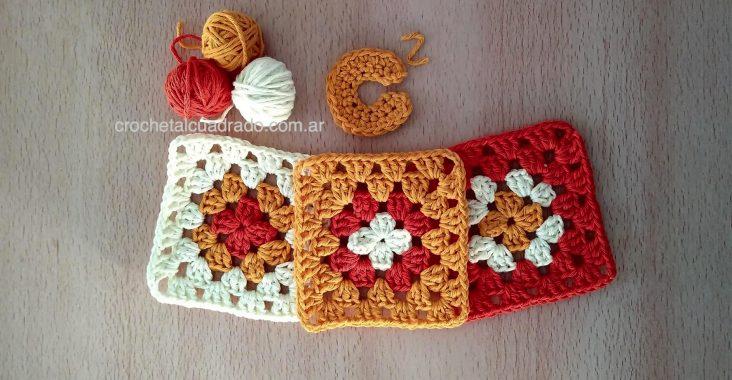 cuadrado al crochet colorido