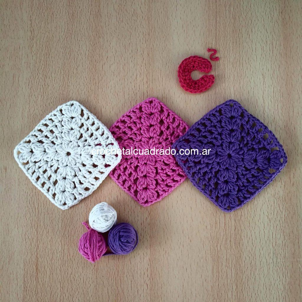 trio cuadrado crochet