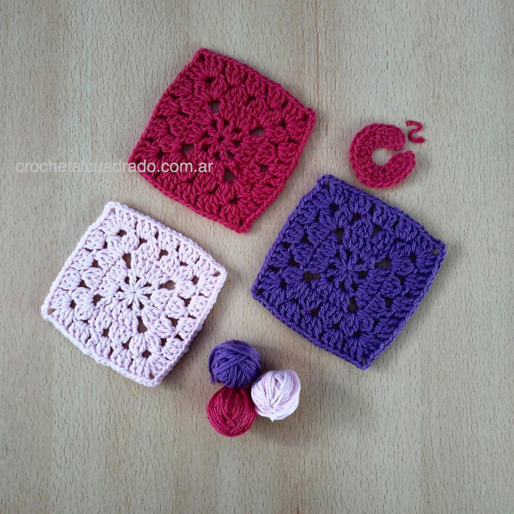 trio cuadrados al crochet