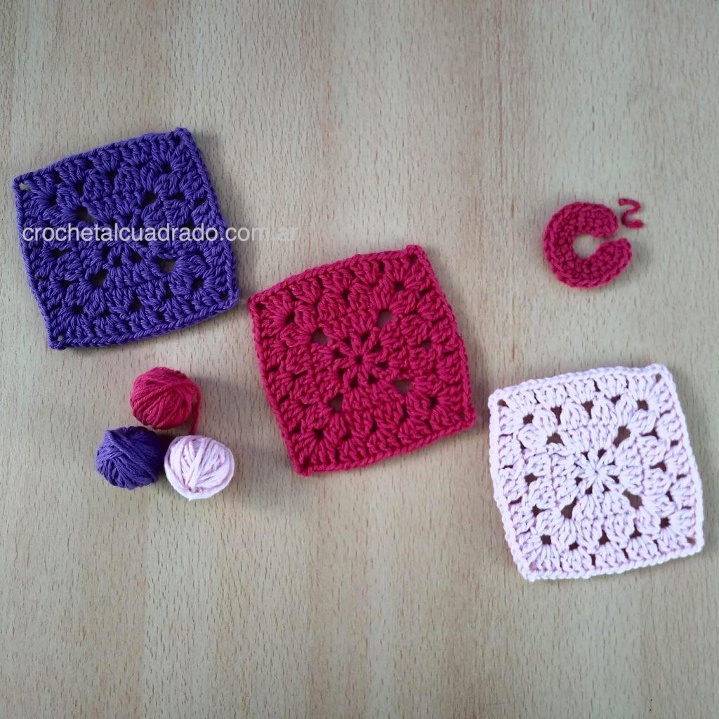 trio cuadrados crochet