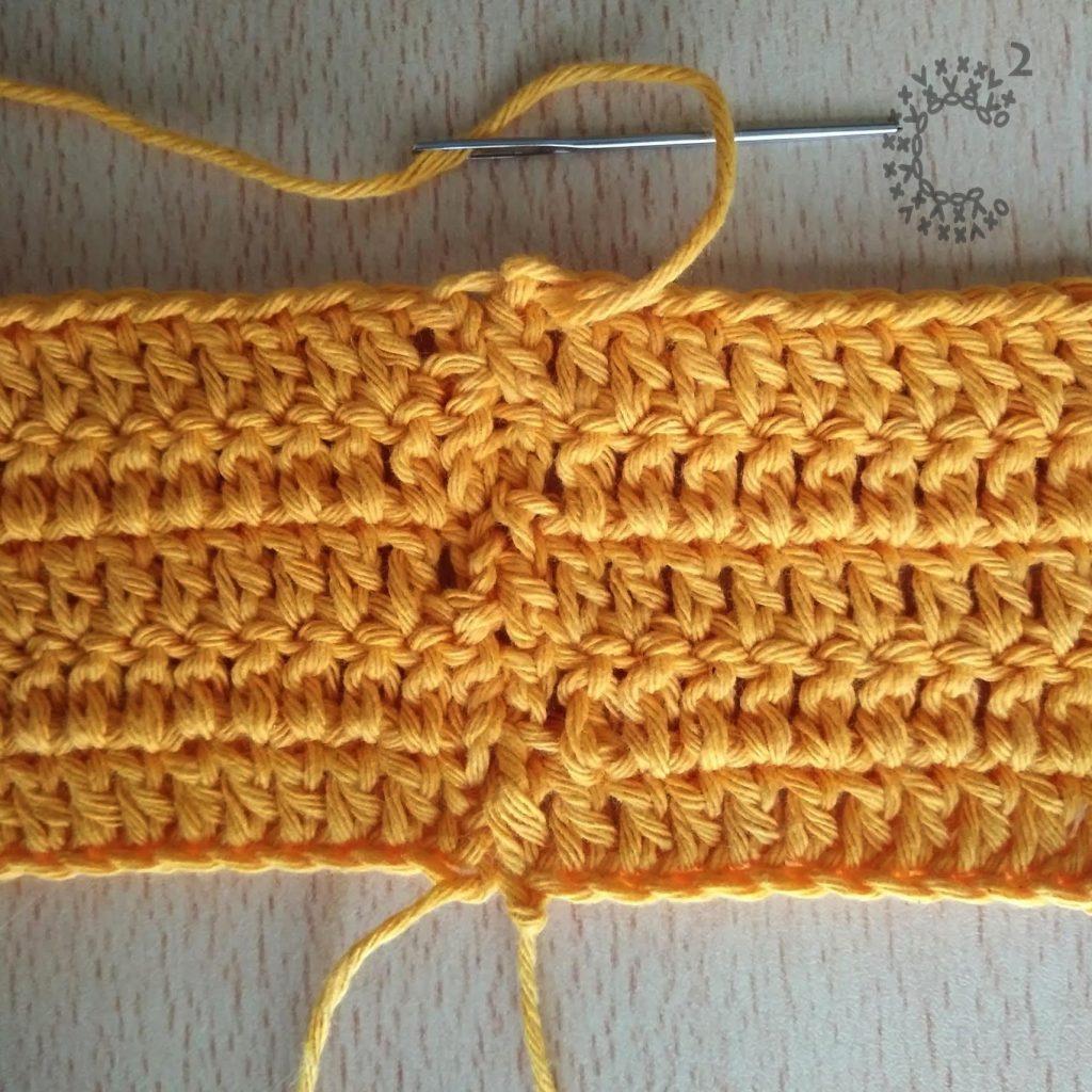 unión hilera por hilera crochet