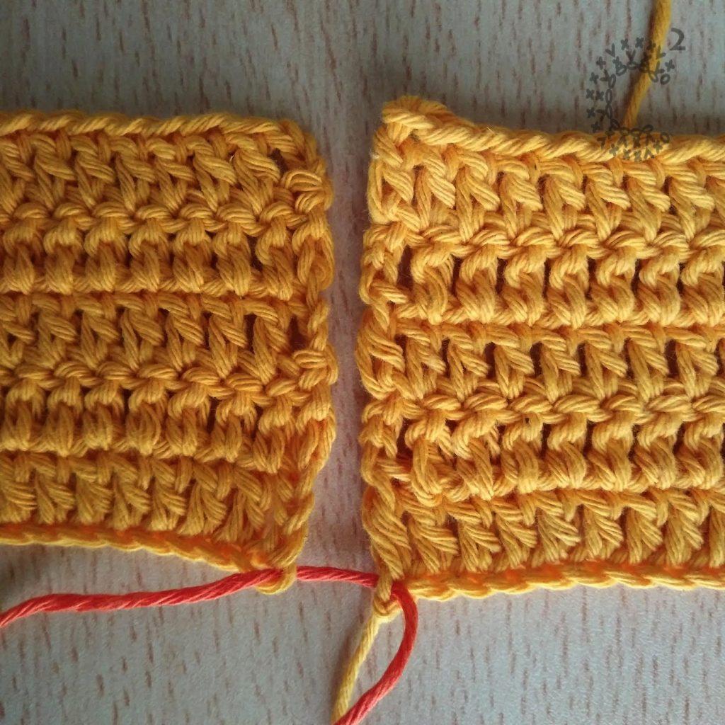 puntada horizontal unión crochet