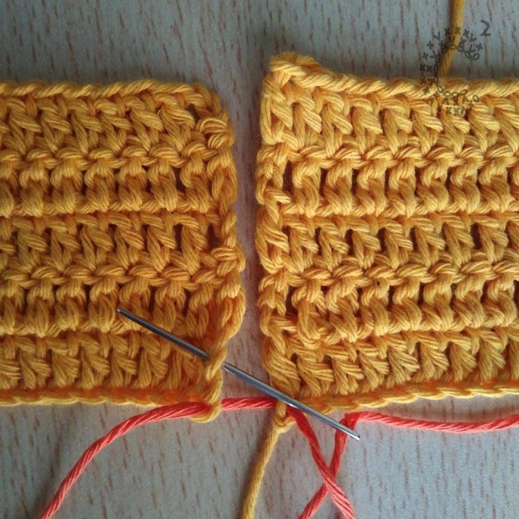 puntada diagonal unión crochet