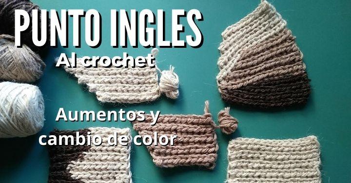 punto ingles crochet aumento cambio de color
